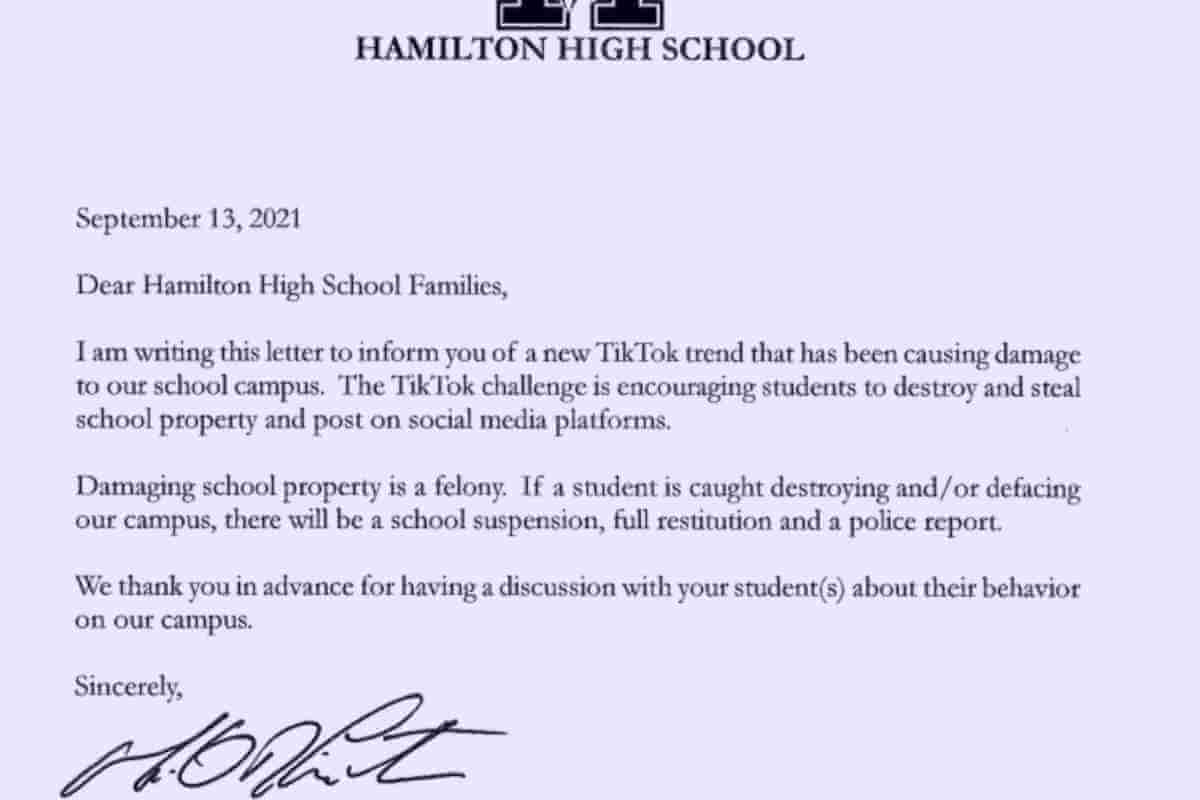 Valley Schools Warning Parents of Viral Tiktok Challenge Encouraging Theft, Vandalism (1)